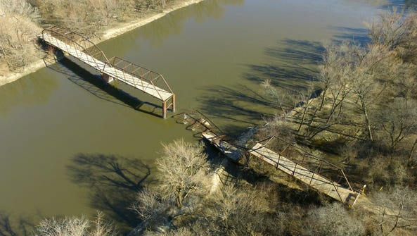 The west-side portion of the Wagon Wheel Bridge in