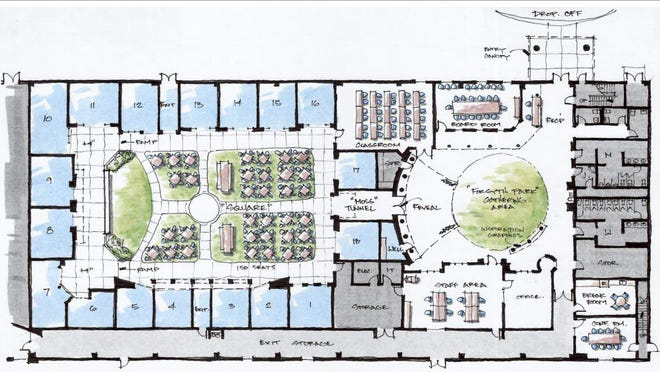This schematic design shows the interior of the Junior Achievement Discovery Center planned for the Armstrong Campus of Georgia Southern University. The Center will be constructed to mimic one of the city's historic squares and feature 18 replicated storefronts.