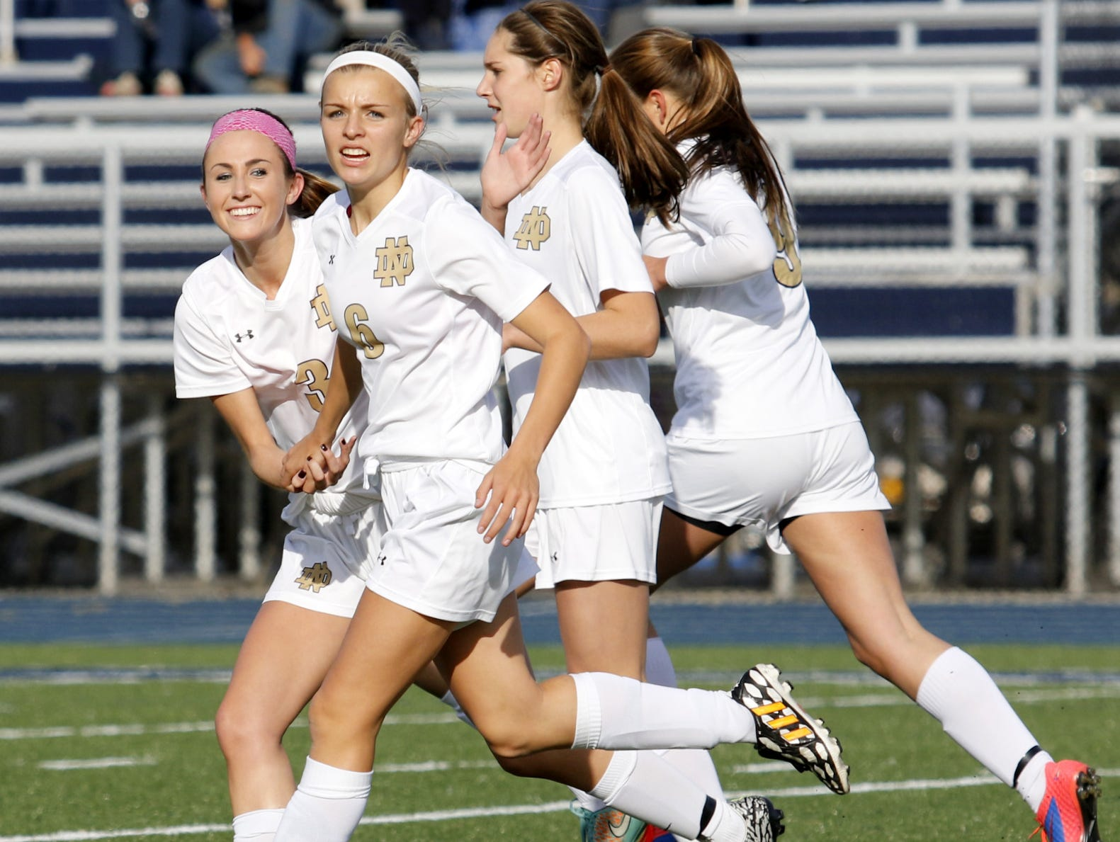 Notre Dame players celebrate a goal during their win over Trumansburg in the Section 4 Class C semifinals.