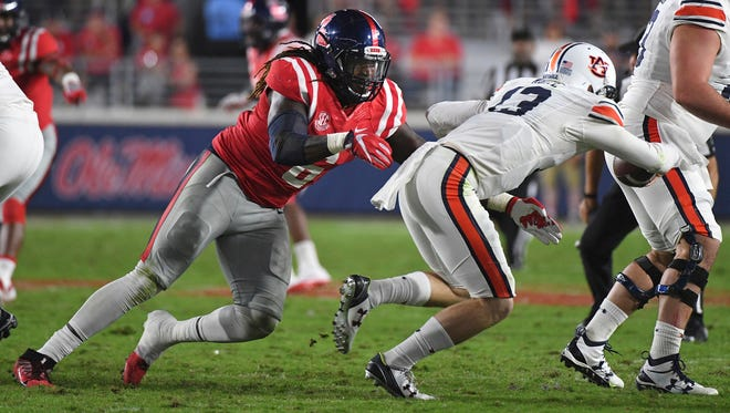 Ole Miss defensive end Fadol Brown (6) recorded five tackles and a sack against Auburn.
