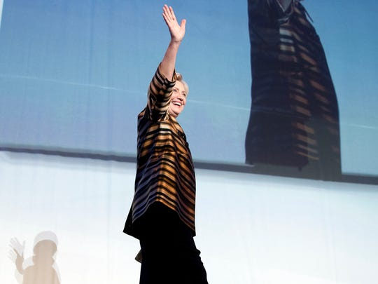 Democratic presidential candidate Hillary Clinton waves after speaking at the Congressional Hispanic Caucus Institute's 39th Annual Gala Dinner held at the Washington Convention Center, in Washington on Thursday.