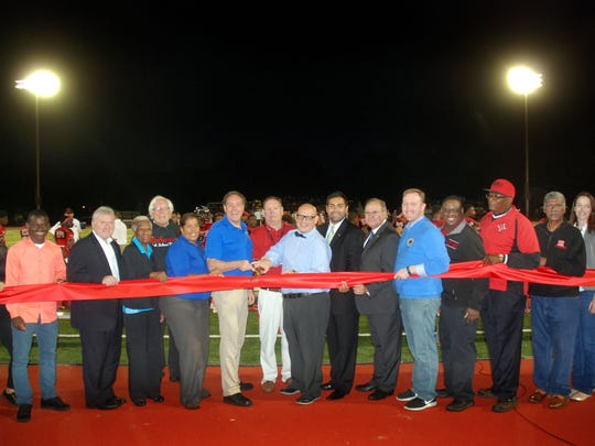 Union County Freeholder Chairman Bruce H. Bergen, Vice Chairman Sergio Granados, Freeholders Linda Carter, Angel G. Estrada, Christopher Hudak and Vernell Wright and Union County Manager Alfred Faella joined Rahway Mayor Samson Steinman and members of the Rahway City Council and the Rahway High School community in celebrating the official opening of the Rahway River Park Field.