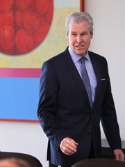 MACY'S CEO MAY 20; 2016; Macy's CEO Terry Lundgren arrives at a press conference at the company's downtown office following a shareholders meeting.