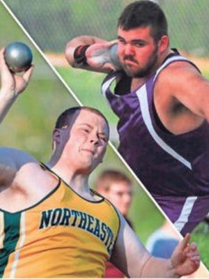Northeastern's Dakota Green, left, and Hagerstown's Keeton Adams, will throw at the IHSAA track and field regional Thursday.
