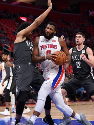 Pistons center Andre Drummond (0) drives to the basket during the second quarter on Sunday, Jan. 21, 2018, at Little Caesars Arena.