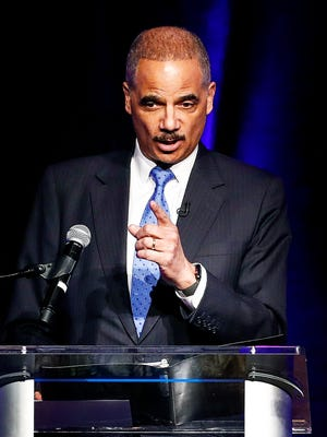 Former U.S Attorney General Eric Holder was the keynote speaker during a MLK50 Symposium at the Peabody Hotel Monday afternoon.