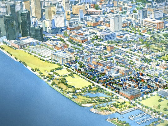 Rendering of the project known as Orleans Landing that will be developed on the east riverfront near downtown Detroit.