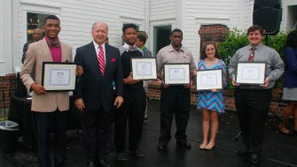 (L-R) 2015 Pay It Forward Scholarship recipient Russell Williams, Attorney Glenn Armentor scholarship recipients Calvin Griffin, Darryl Thibodeaux, Morgan Bergeron, and Nathan Guidry.