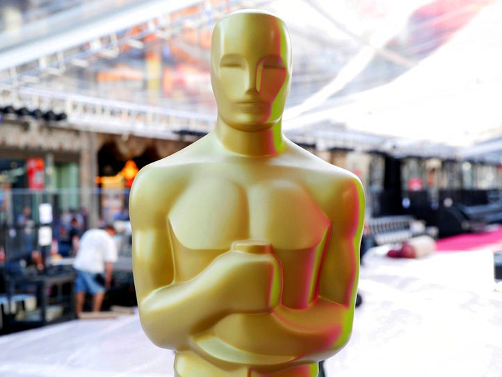 FILE - In this Feb. 24, 2016 file photo, an Oscar statue