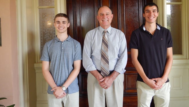 Left to right: Dominick Burress, Cornwall Manor President Steve Hassinger and Daniel Neiswender.