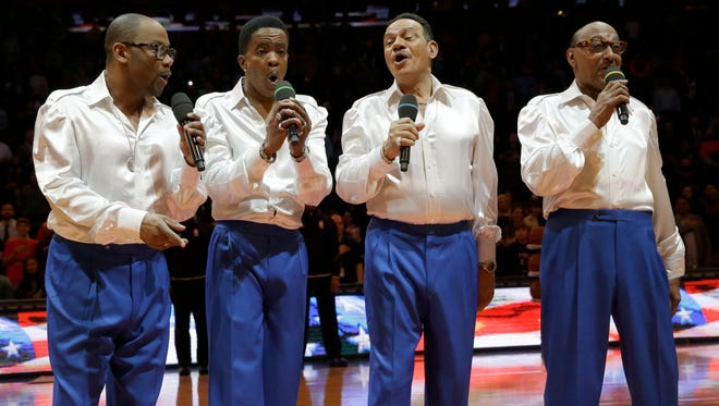 "The Four Tops sing the ""Star-Spangled Banner"" before a game between the Boston Celtics and the New York Knicks on Friday, March 27, 2015, at Madison Square Garden in New York."