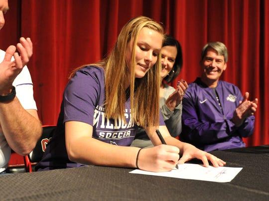 Wichita Falls High School goalkeeper Erin Smith signed