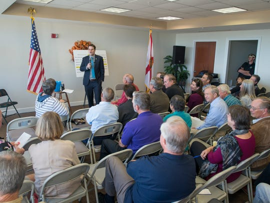 U.S. Rep. Matt Gaetz speaks during a public forum Nov.