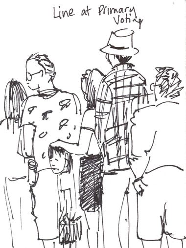 Artist Katy O'Connor sketched voters at the Church