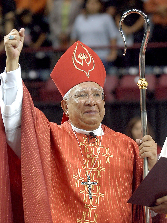 Bishop Ricardo Ramirez asks the thousands of people