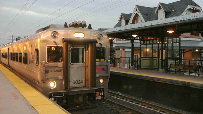 A NJ Transit train pulls into the Red Bank station.
