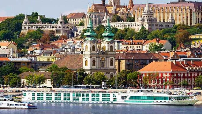 A river cruise ship travels on the Danube.