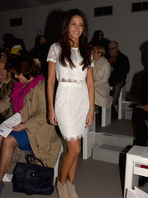 Michelle Keegan attends the Bora Aksu show during London Fashion Week Fall/Winter 2015/16 at Somerset House on Feb. 20, 2015.