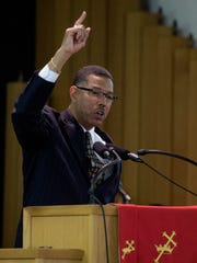 Tony Haygood, Jr., Mayor of Tuskegee, gives the keynote emancipation address at the Emancipation Proclamation Celebration held at Bryant Missionary Baptist Church in Montgomery, Ala. on Sunday January 1, 2017.