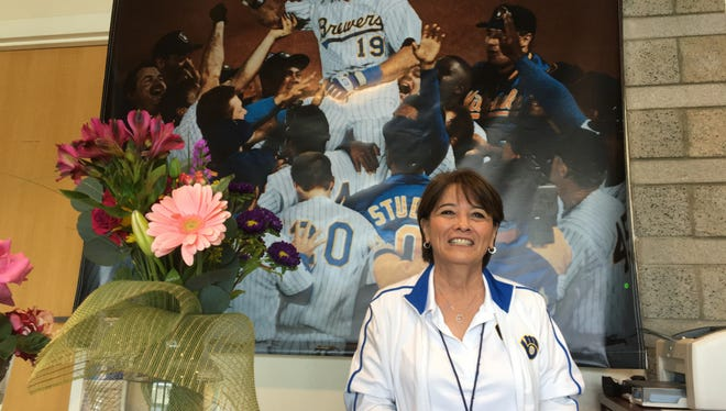 Debbie Dunlavey has been the spring training receptionist for the Brewers for 13 years.