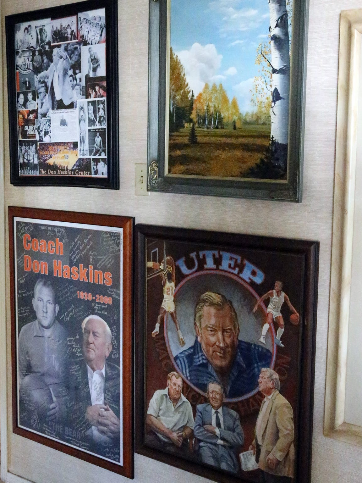 Don Haskins memorabilia in the Haskins home.
