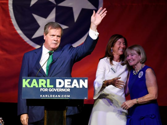 Democratic Governor candidate and former Nashville mayor Karl Dean waves to supporters at his primary election returns watch party at Clementine Hall Thursday, Aug. 2, 2018, in Nashville, Tenn.
