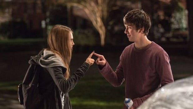 "Cara Delevingne and Nat Wolff star in ""Paper Towns."""
