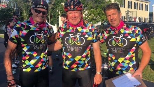 From left, Tim Tower, Paul Haseltine and Andy Carver had their Pan Mass Challenge Reimagined 2020 ride last weekend with their Precision for Kids team, going 70 miles along back roads in Massachusetts. The 48-member team raised $390,000 in last year's ride.