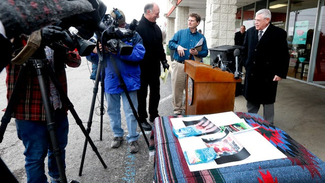 A Sheriff's press conference was held to announce that 23 stores have been closed after it is believed that they are selling products containing a marijuana derivative, on Monday Feb. 12, 2018. The press conference was held in front of Vapesboro one of the businesses under investigation.