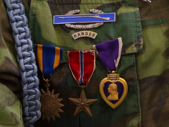 Nelson Joe's medals are pictured Thursday during a Vietnam veterans pinning ceremony at Navajo Technical University in Crownpoint.