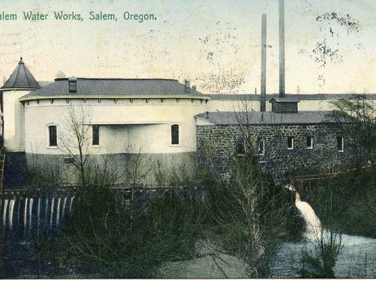 For years this pumping plant at the southeastern corner of Commercial and Trade streets pumped drinking water out of the Willamette River for use in Salem. Here is what it looked like in 1909.