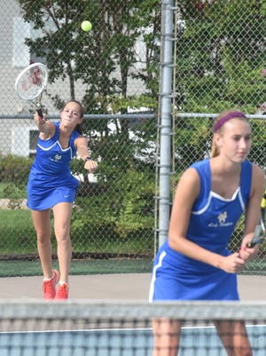Mountain Home's Madilyn Jones serves during her match with partner Chloe Nosari against Searcy on Tuesday.