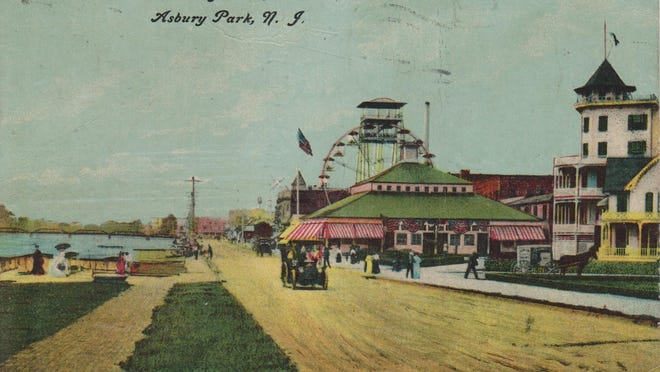 A postcard featuring the Asbury Park Ferris wheel shortly after the turn of the century.