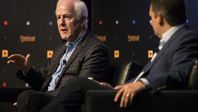 U.S. Sen. John Cornyn, R-Texas, left, is shown speaking in 2017 at the Texas Tribune Festival with U.S. Sen. Ted Cruz, R-Texas, right.