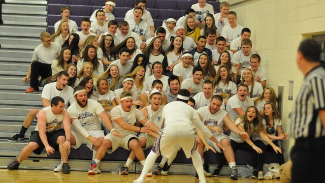 Bloom-Carroll came dressed in white for the Battle of the Fans Saturday, Jan. 24, in Carroll. Bloom-Carroll was named a finalist for Battle of the Fans.