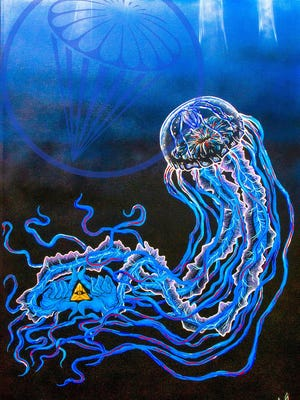 Artist Arthur Owsley often incorporates images of owls and jellyfish into his paintings.