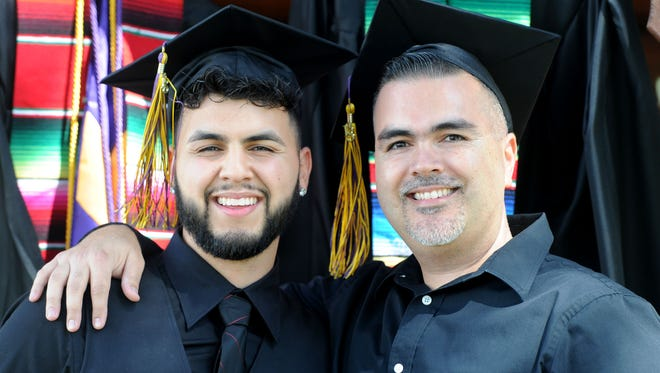 Daniel, right, and Danny Chavez, of Oxnard, will graduate from college together on Saturday. Daniel, who raised his son as a single father, went to school to earn a degree after having once dropped out of high school and made it his mission to graduate with his son from California Lutheran University.