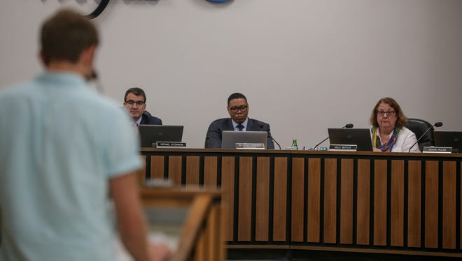 Andrew Gatza addresses the Board regarding the district's decision to close three high schools at the IPS Board Meeting on Thursday, June 29, 2017, at the IPS Headquarters on East Walnut Street in Indianapolis.