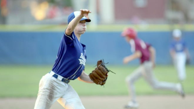 New Franklin's Owen Armentrout throws out a runner from Imhoff's Appliance in Junior Babe Ruth action Tuesday night at Twillman field in Harley park. New Franklin defeated Imhoff's Appliance 14-13 to improve to 2-0 on the season.