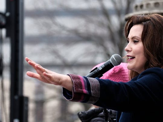 Gov.-elect Gretchen Whitmer speaks at the Women's March on Lansing Jan. 21, 2017.