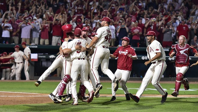 Sean O'Neill, a 2016 Webster Schroeder graduate, is headed to the College World Series as the bullpen catcher for the Arkansas Razorbacks.