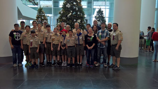 Boy Scout Troop 157 poses for a picture during the 2016 Feast of Sharing.