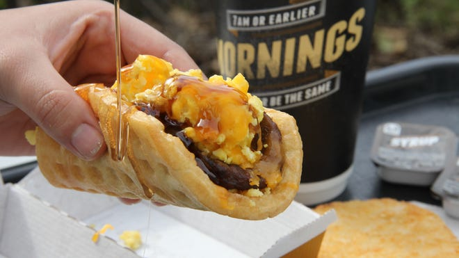 Taco Bell Waffle Taco will be part of  the new breakfast menu.