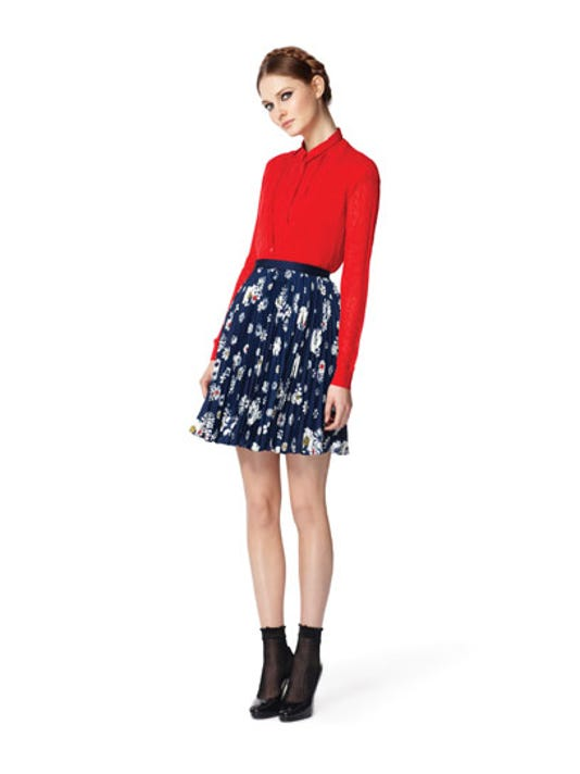 Bright red shirts ($27) and cardigans ($40), here I come!  The skirt ($30) is cute too...