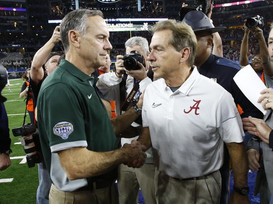 Things didn't go well for Mark Dantonio and MSU against his old boss Nick Saban and Alabama in the 2015 College Football Playoff.