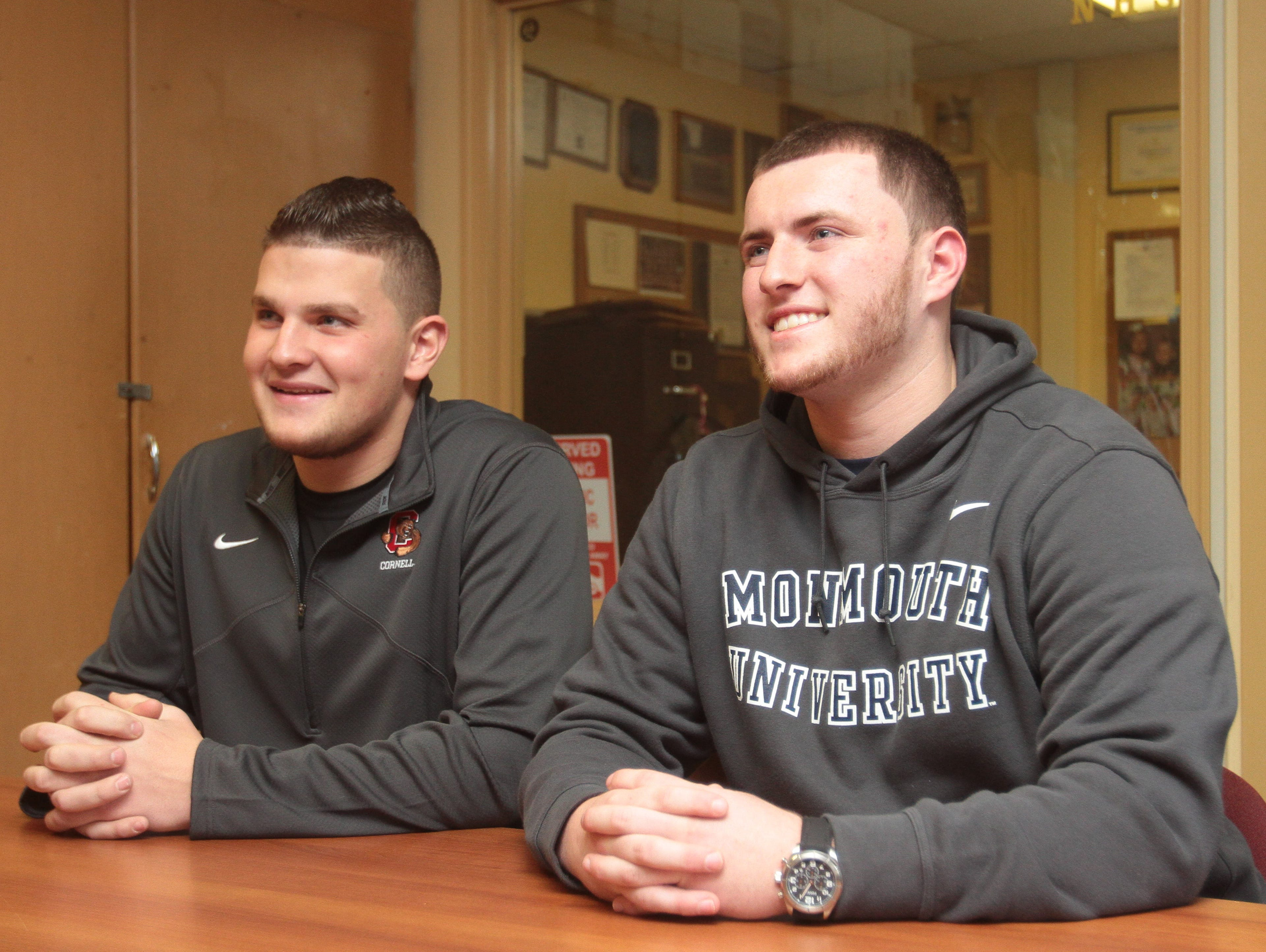 Jordan Landsman (left) signed on to Cornell University while Brian Syracuse (right) signed on to Monmouth University on National Signing Day Feb. 3, 2016 at Nanuet Senior High School.