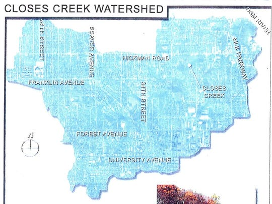A map of the Closes Creek watershed in Des Moines.