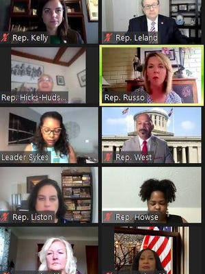 Ohio House Democrats appear on a Zoom call Tuesday to criticize what they view as a lack of action by Republicans who control the chamber on key issues ranging from coronavirus relief to racial justice to repealing HB 6.