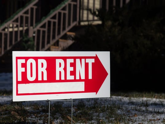 Home for rent sign with red arrow