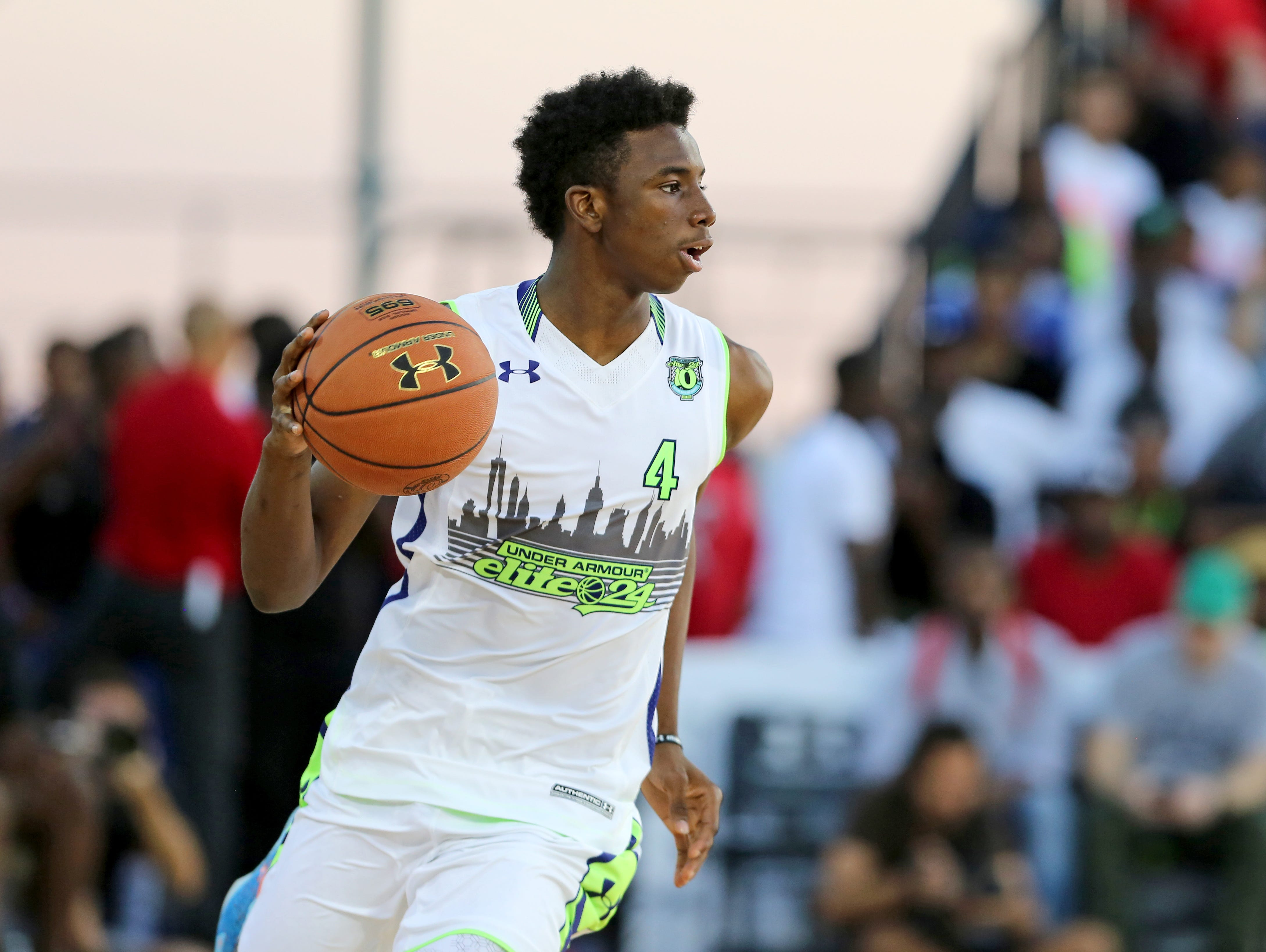 Team EZ Pass' Hamidou Diallo #4 in action against Team Doo Be Doo in the Under Armour Elite 24 game on Saturday, August 22, 2015 in Brooklyn, NY.